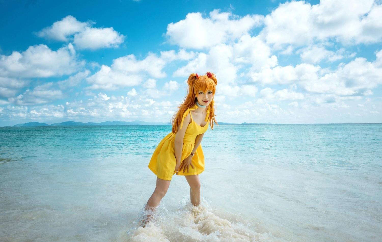 Фото Косплей Asuka Langley / Аска Лэнгли на море из аниме Evangelion / Евангелион