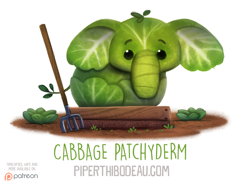 Фото Капустный слоник на грядке (Cabbage Patchyderm), by Cryptid-Creations