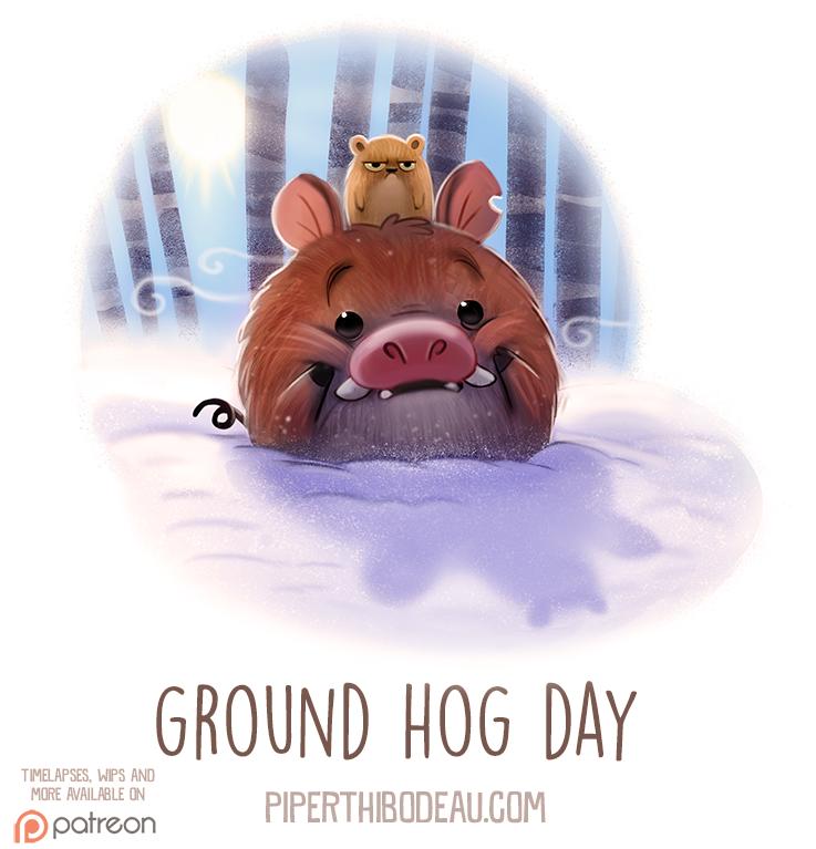Фото Кабан с хомяком на голове сидит в снегу (Ground Hog Day), by Cryptid-Creations