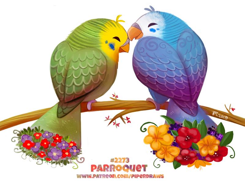 Фото Два попугайчика с цветами на хвосте (Parroquet), by Cryptid-Creations