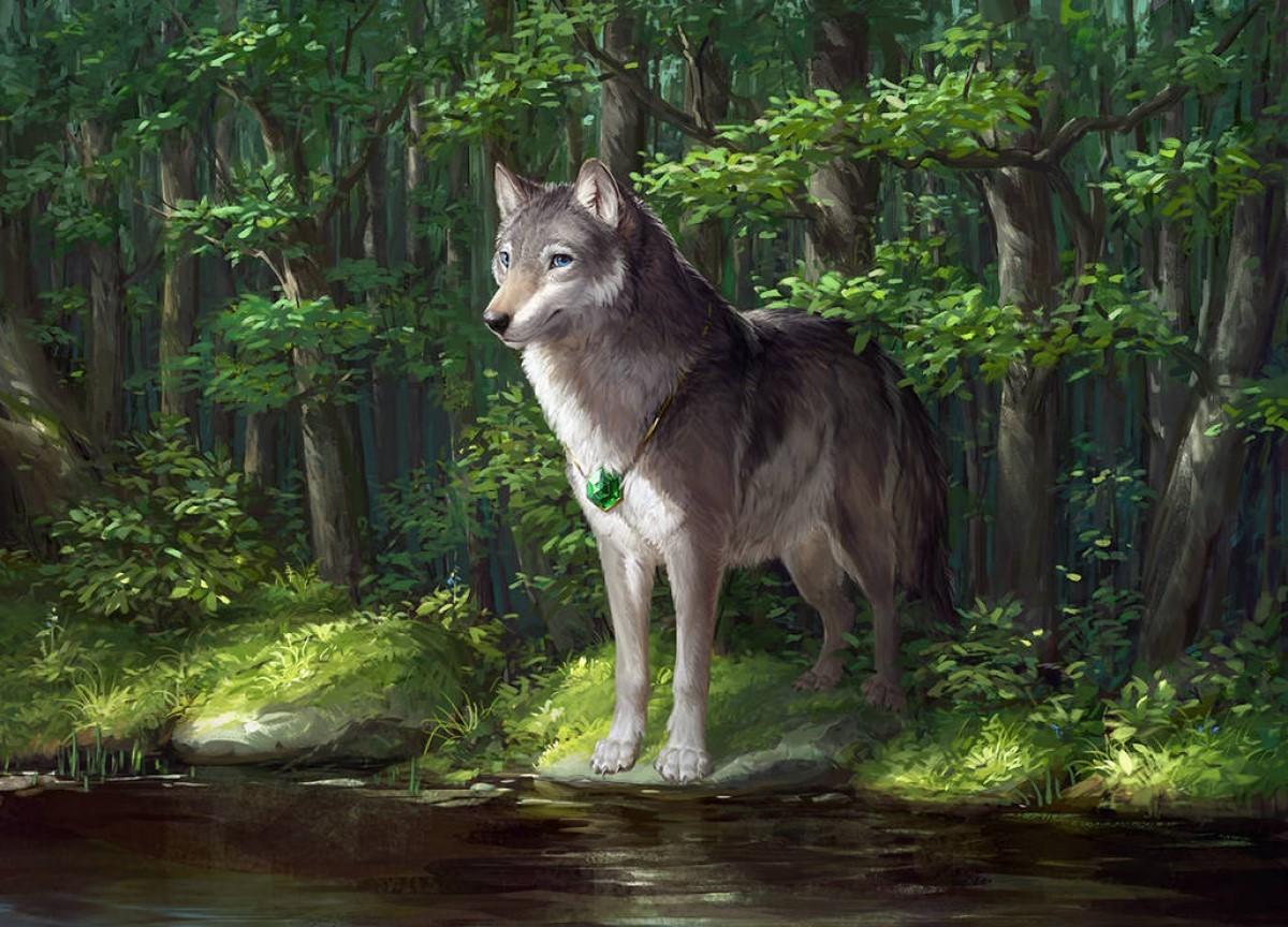 Арты с волками в лесу