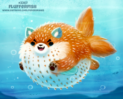 Фото Лисица-фугу под повой (Flufferfish), by Cryptid-Creations
