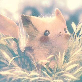 Фото Пикачу / Pikachu из аниме Покемон / Pokemon сидит в траве, by manino