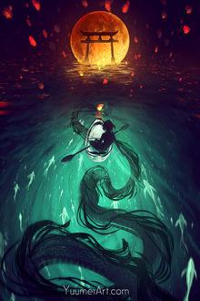 Фото Девушка в лодке плывет по направлению к тории, в воде видна тень дракона, by yuumei