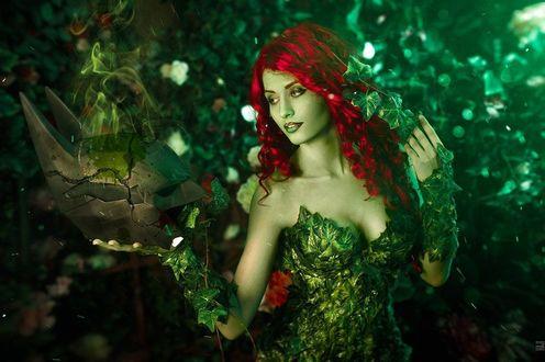 Фото Девушка Валентина с малиновыми волосами и с зеленой кожей в одежде из листьев плюща, by Vavalika