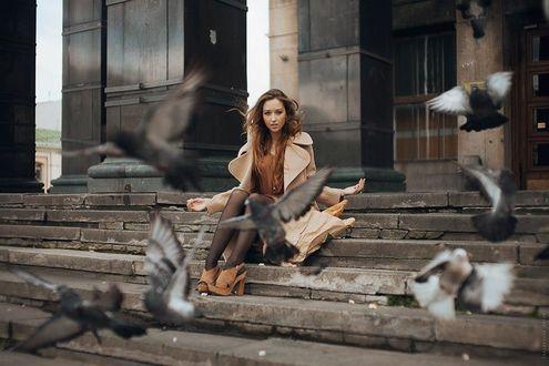 Фото Девушка сидит на ступеньках в окружении голубей