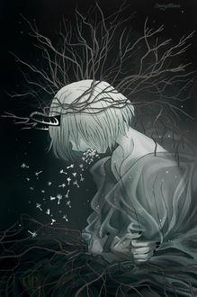 Фото Белокурая девушка-демон, тело и голову, которой обвивают ветви, кричит, при этом у не изо рта вылетают семена одуванчика, by SonyaMoon666
