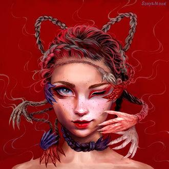 Фото Девушка с косичками-когтистыми лапками, by SonyaMoon666