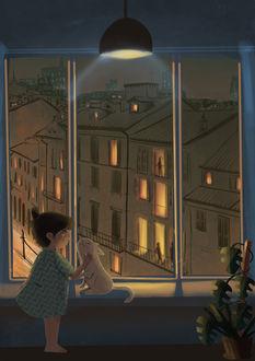 Фото Кошка с девочкой у окна, by Margherita Magy Grasso