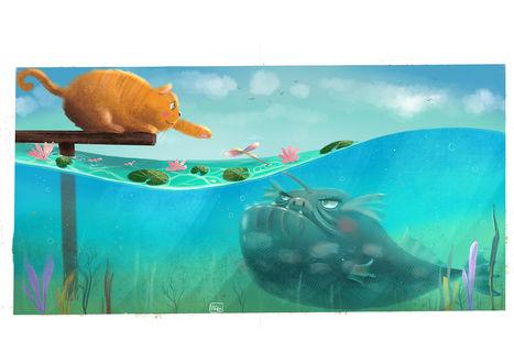 Фото Кошка с мостика тянет лапку к рыбке, by Margherita Magy Grasso
