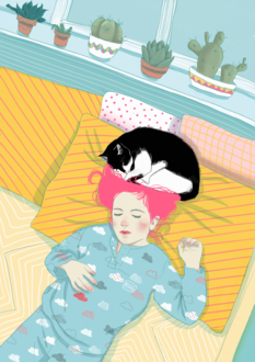 Фото Кошка спит с девочкой на постели, by Margherita Magy Grasso