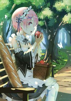 Фото Ram / Рам с корзинкой яблок на коленях сидит на лавочке арт аниме Re: Zero kara Hajimeru Isekai Seikatsu / Re: Жизнь в альтернативном мире с нуля