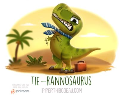 Фото Тираннозавр с галстуком злиться, рядом стоит чемоданчик (Tie-rannosaurus), by Cryptid-Creations