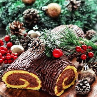 Фото Шоколадный рулет среди хвои, шишек и ягод