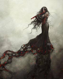 Фото Девушка в черном платье с музыкальным инструментом в руках, by NanFe