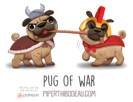 Фото Два мопсика в одеждах тянут веревку (Pug of War), by Cryptid-Creations (© Мася-тян), добавлено: 09.02.2019 12:54