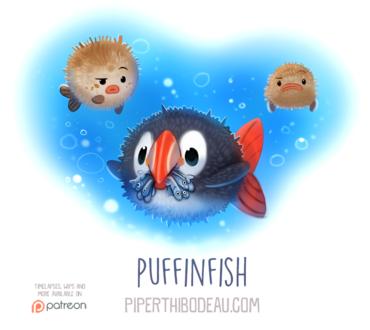 Фото Птица с рыбками в образе рыбы фугу, среди двух других рыб фугу (Puffinfish), by Cryptid-Creations