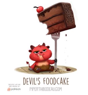 Фото Чертик с вилкой, с кусочком тортиком (DevilS Foodcake), by Cryptid-Creations