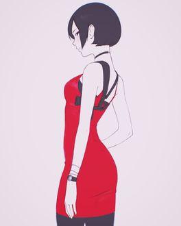 Фото Девушка в красном платье стоит вполоборота, by Kuvshinov Ilya