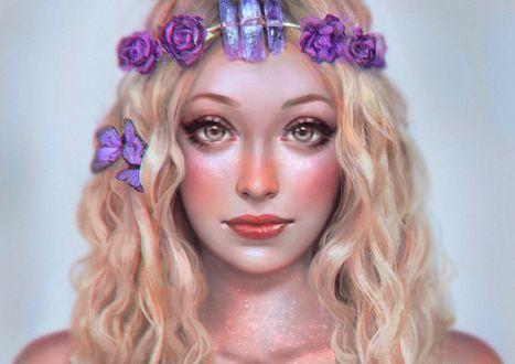 Фото Девушка в венке и сиреневой бабочкой на голове, by serafleur
