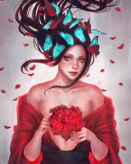Фото Девушка с бабочками на волосах держит красный цветок в руках, by serafleur