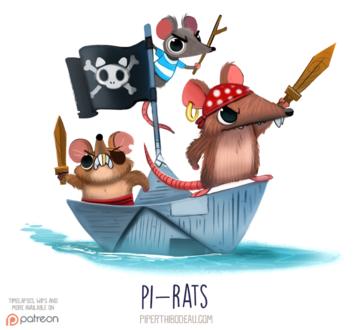 Фото Крысы-пираты на бумажном кораблике (Pi-rats), by Cryptid-Creations