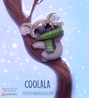 Фото Коала с детенышем на дереве под снегопадом (Coolala), by Cryptid-Creations