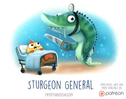 Фото Щука с пилой стоит рядом с кроватью, где лежит рыбка (Sturgeon General), by Cryptid-Creations