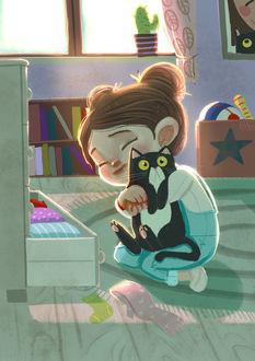 Фото Девочка с кошкой сидит на полу, иллюстратор Margherita Grasso