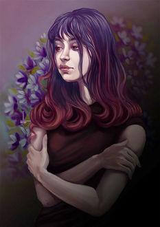 Фото Грустная левушка с фиолетовыми волосами, by DesigningLua