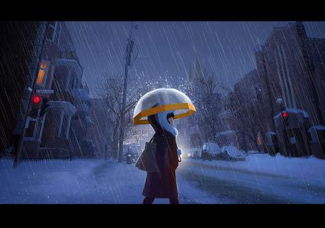 Фото Девушка под зонтиком в дождь идет по вечерней заснеженной улице, by maia Zeidan
