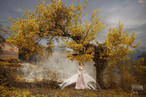 Фото Девушка в длинном платье стоит у дерева
