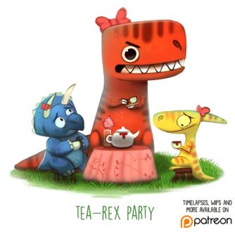 Фото Чаепитие центрозаврова, тираннозавра и паразауролофа (Tea - Rex Party), by Cryptid-Creations