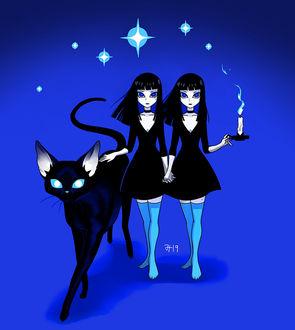 Фото Две девушки с кошкой, by Zombiesmile