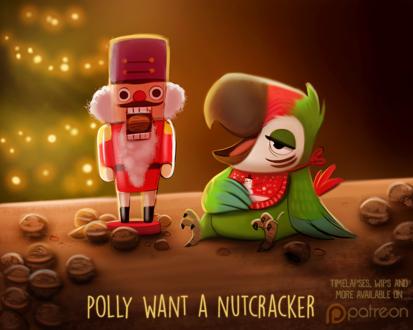 Фото Попугайчик и щелкунчик, рядом лежат грецкие орехи (Polly Want a Nutcracker), by Cryptid-Creations