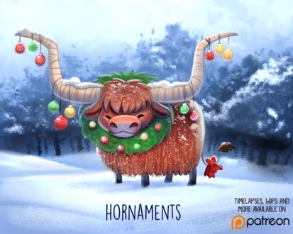 Фото Украшенный бизон на снегу на природе (Hornaments), by Cryptid-Creations