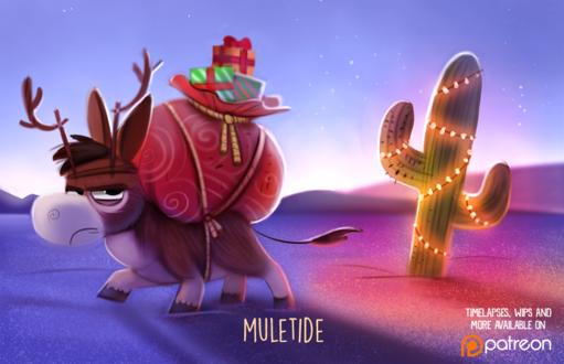 Фото Недовольный мул с мешком подарков в пустыне (Muletide), by Cryptid-Creations