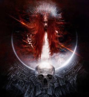 Фото Девушка с длинными рыжими волосами в ореоле, by Kryseis-Art