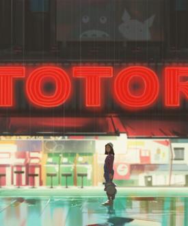 Фото Девочка с плюшевым Тоторо в руке стоит под дождем, by snatti