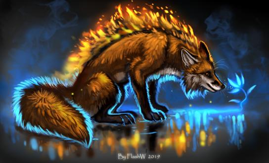 Фото Огненная лиса смотрит на цветок, by FlashW
