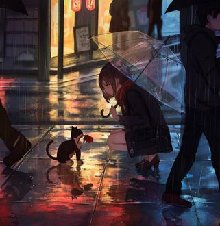 Фото Девочка с зонтом сидит перед кошкой с розой