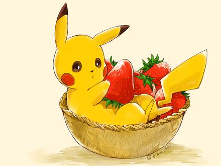 Фото Пикачу / Pikachu из аниме Покемон / Pokemon в корзине с клубникой