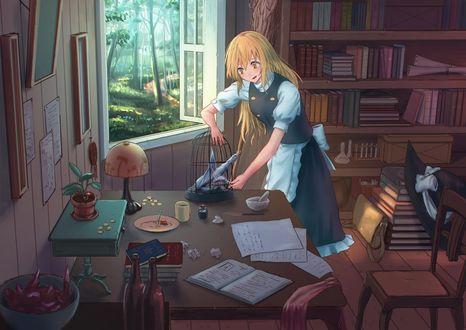 Фото Marisa Kirisame / Мариса Кирисаме выпускает дракончика из клетки, арт персонажа из серии компьютерных игр Touhou Project / Проект Восток