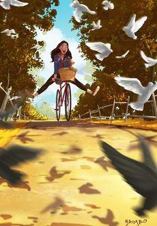Фото Девочка со щенком в корзине на велосипеде, иллюстратор Yaoyao Ma Van As