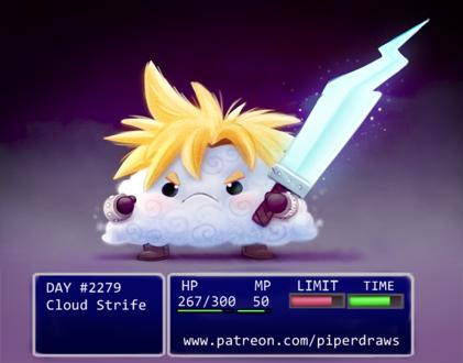 Фото Облако в образе Cloud Strife / Клауд Страйф из серии аниме Final Fantasy / Последняя фантазия (Cloud Strife), by Cryptid-Creations