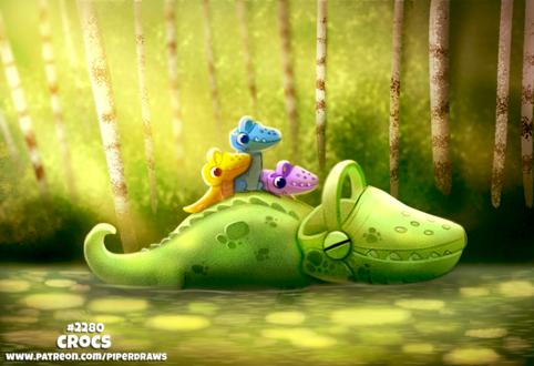 Фото Плывущий крокодил с маленькими крокодильчиками на спине (Crocs), by Cryptid-Creations