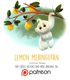 Фото Съедобная белая обезьянка повисла на лимонном дереве (Lemon Meringutan), by Cryptid-Creations