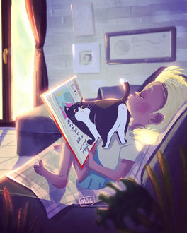Фото Мальчик читает книгу, а кошка ему мешает, by Margherita Grasso