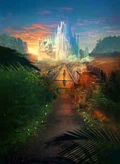 Фото Девочка идет по мосту к волшебному замку, art by Martina Stipan