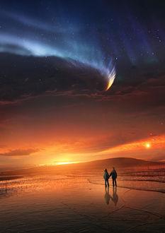 Фото Дети смотрят на красивое сияние в небе, art by Martina Stipan